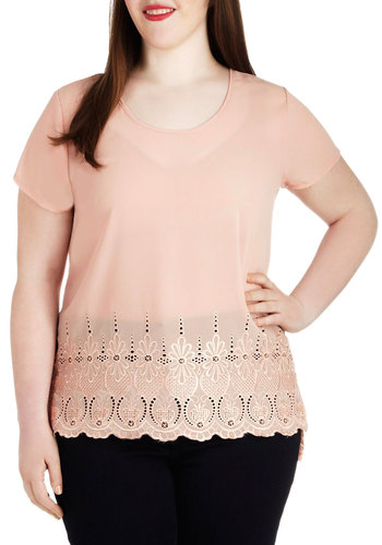Sunrise Stroll Top in Plus Size - Sheer, Pink, Solid, Eyelet, Work, Vintage Inspired, Short Sleeves, Spring
