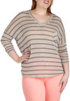Mellow Mist Sweater in Plus - Tan, Brown, Stripes, Pockets, Casual, Long Sleeve, V Neck, Travel, Fall