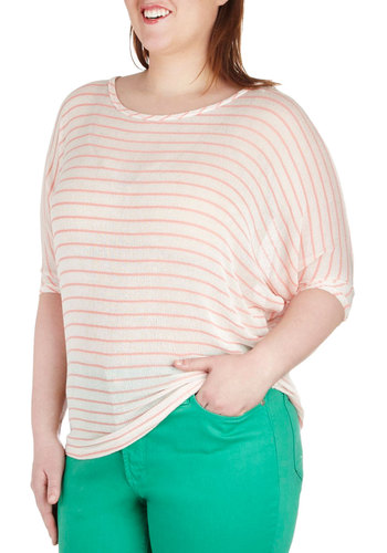 Breeze Into Your Day Top in Plus Size - Sheer, Pink, Stripes, Casual, 3/4 Sleeve, Spring, Travel, White