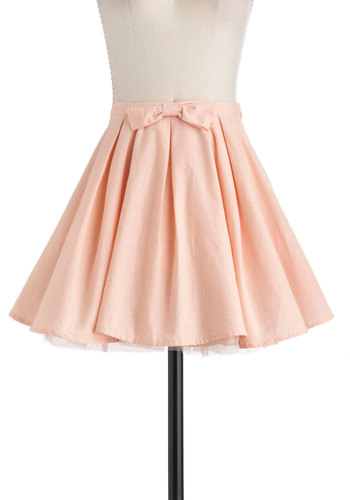 Curtsying Cutie Skirt - Pink, Solid, Party, Daytime Party, Pastel, Short, Bows, Vintage Inspired, 50s, Fairytale, Cotton, Ballerina / Tutu, Pink