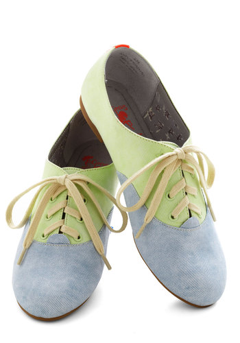 Pastel Your Own Tale Flat - Solid, Colorblocking, Flat, Blue, Mint, Casual, Lace Up
