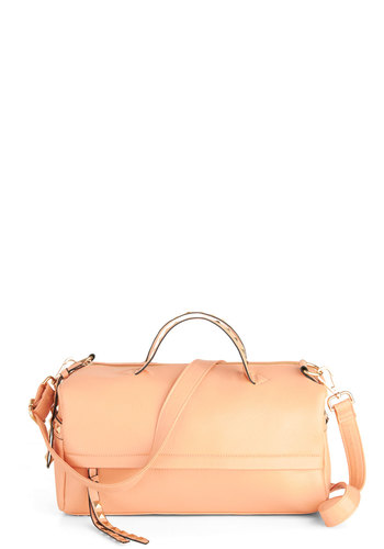 Sunrise in Soho Bag in Peach - Faux Leather, Orange, Gold, Solid, Studs, Tassles, Pastel, Variation