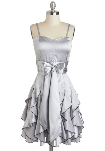 Who Wants to Be a Frillionaire Dress in Platinum - Silver, Solid, Pleats, Ruffles, Strapless, Empire, Prom, Belted, Spaghetti Straps, Long, Exclusives, Party, Cocktail