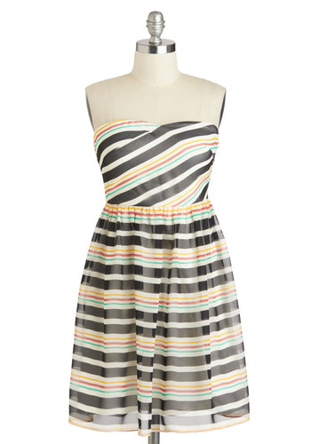 Photo Finesse Dress - Multi, Red, Stripes, Casual, Empire, Strapless, Mid-length, Yellow, Green, Black, White, Summer, Spring