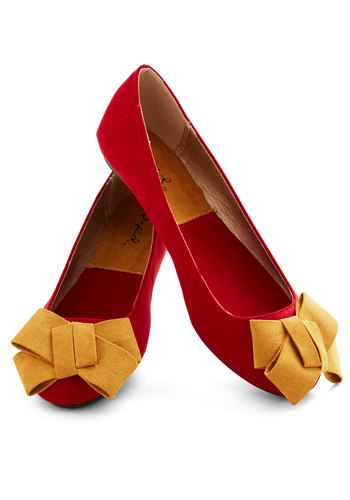 Wrapped Up In Charm Flat - Red, Solid, Bows, Faux Leather, Yellow, Flat