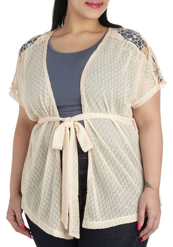 Feeling Festival Cardigan in Plus Size - Sheer, Cream, Solid, Crochet, Casual, Short Sleeves, Daytime Party