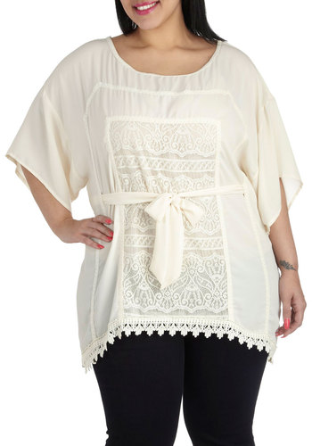 The Perfect Venue Top in Plus Size - Sheer, Cream, Solid, Lace, Belted, Work, Casual, Daytime Party, Short Sleeves, Scoop