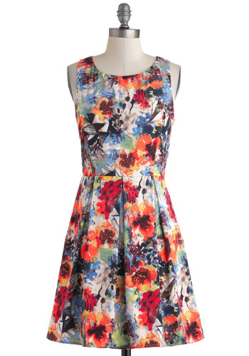 Painting Class Act Dress - Multi, Floral, Cutout, Pleats, A-line, Sleeveless, Scoop, Casual, Daytime Party, Summer, Mid-length