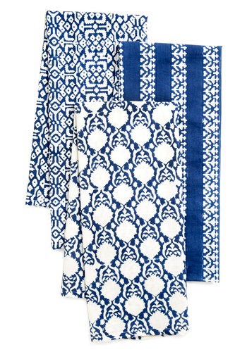 Fresh Heirloom Dish Towel Set - Cotton, Blue, White, Print, Vintage Inspired, Daytime Party