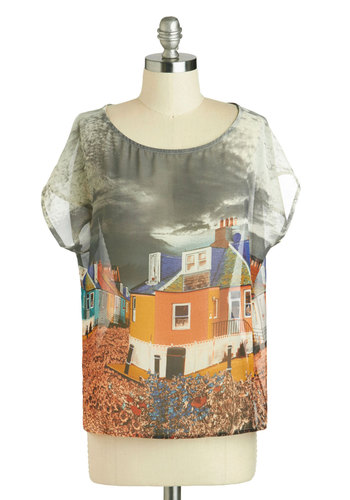 Chimerical on Main Street Top - Sheer, Mid-length, Multi, Casual, Short Sleeves, Novelty Print, Quirky, Scoop, Summer