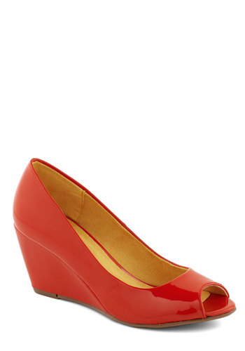 Stylish Off-Site Wedge - Orange, Solid, Work, Wedge, Peep Toe, Mid