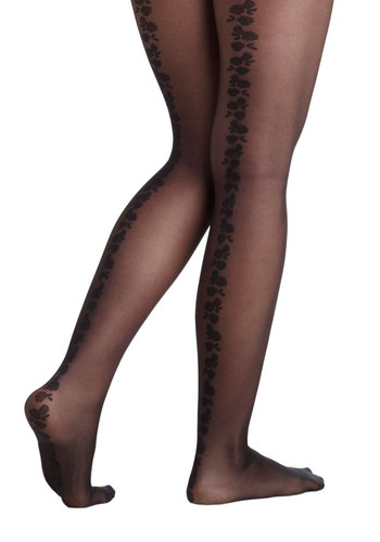 Flourishing Florals Tights - Black, Solid, Print, Sheer, International Designer