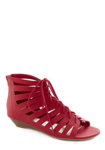 Prance Through Padova Wedge in Red - Low, Red, Solid, Wedge, Lace Up, Cutout, Casual, Urban, Faux Leather, Summer, Beach/Resort