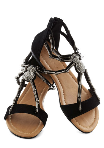 We Arachnid to Talk Sandal in Black - Flat, Faux Leather, Black, Print with Animals, Rhinestones, Statement, Party, Casual, Quirky, Variation, Summer