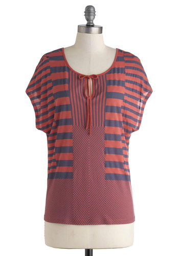 Tone of Choice Top by Gentle Fawn - Jersey, Mid-length, Red, Blue, Stripes, Casual, Nautical, Short Sleeves, Travel, Red, Short Sleeve