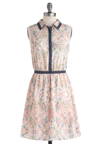 Piano Concerto Dress by Gentle Fawn - Pink, Multi, Floral, Buttons, Trim, Casual, A-line, Sleeveless, Spring, Mid-length, Collared, Shirt Dress, Pastel