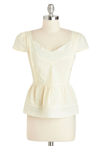 Let's Call It a Sway Top by Tulle Clothing - White, Tan / Cream, Lace, Cap Sleeves, Cotton, Sheer, Mid-length