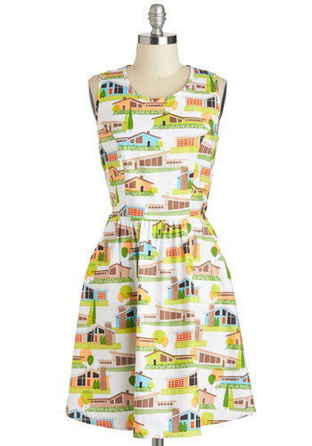 The Lady Brunch Dress in Houses - Multi, Novelty Print, Cutout, Pockets, Casual, A-line, Sleeveless, Scoop, Vintage Inspired, 60s, Cotton, Multi, White, Mid-length