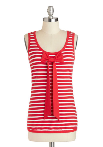 Peppermint Prestige Top by Tulle Clothing - Red, White, Stripes, Bows, Sleeveless, Cotton, Mid-length, Nautical, Spring, Summer