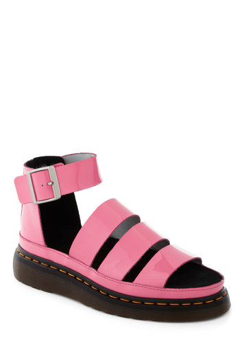 Pink Rock Princess Sandal by Dr. Martens - Pink, Solid, Leather, Low, Vintage Inspired, 90s, Summer