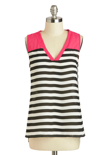 Style Upgrade Top - Black, Pink, White, Stripes, Casual, Sleeveless, V Neck, Mid-length, Sheer, Summer, Pink, Sleeveless