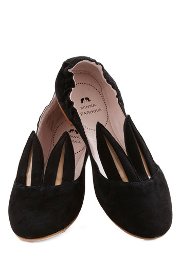Little Bunny Shoe Shoe Flat by Minna Parikka - Flat, Leather, Black, International Designer, Solid, Casual, Quirky, Statement