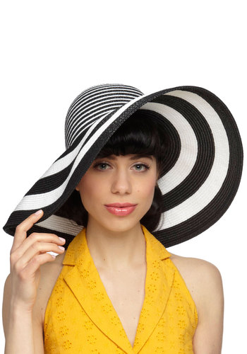 Brim and Proper Hat - Black, Stripes, Daytime Party, Beach/Resort, Statement, Summer, White