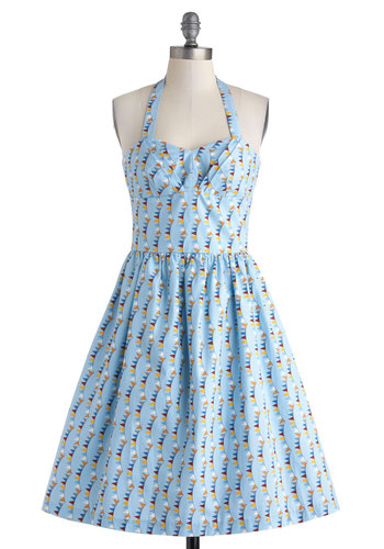 Wave Your Pennant Dress - Exclusives, Cotton, Blue, Multi, Print, Casual, Fit & Flare, Halter, Sweetheart, Pockets, Summer, Long