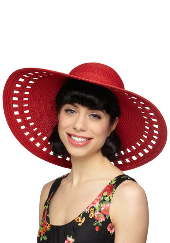 The Skylight of Day Hat in Red - Red, Solid, Cutout, Woven, Daytime Party, Beach/Resort, Nautical, Summer, Variation