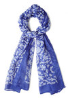 Downright Delightful Scarf - Blue, White, Floral, Sheer, Winter