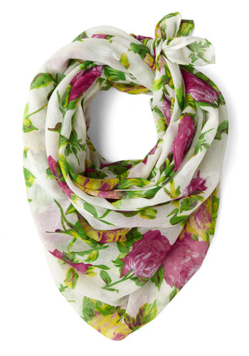 Thrive Got a Feeling Scarf - Yellow, Green, Pink, Floral, Sheer, Multi, White