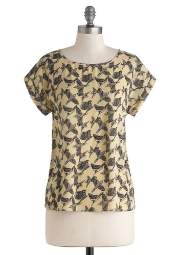 Birdie Boulevard Top - Mid-length, Tan, Black, Print with Animals, Work, Short Sleeves, Casual, Scoop, Yellow, Short Sleeve