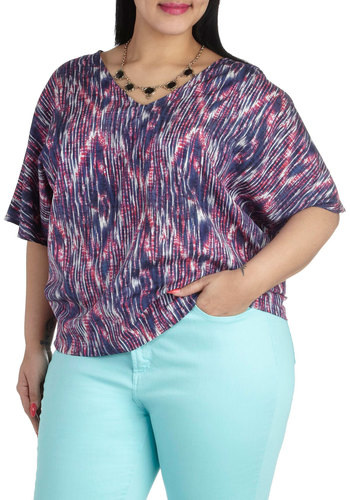 Drive Through the Desert Top in Plus Size by JilRo - Red, Print, Casual, Short Sleeves, Purple, Luxe, V Neck