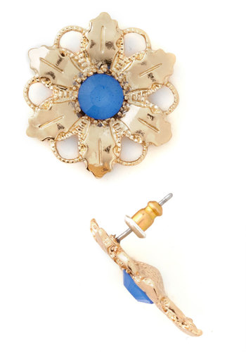 Posh Petals Earrings - Gold, Blue, Solid, Flower, Vintage Inspired, 20s, Luxe, Formal, Prom, Wedding, Party, Daytime Party, Bridesmaid