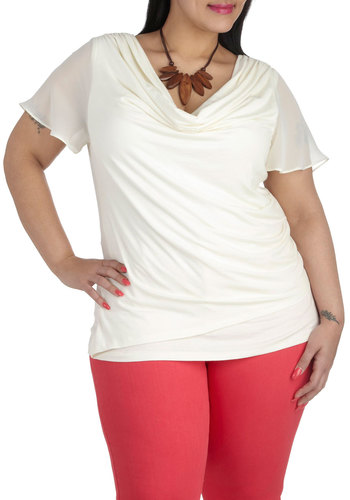 Vanilla Buttercream Top in Plus Size by JilRo - Sheer, Cream, Solid, Ruffles, Work, Casual, Daytime Party, Short Sleeves, Cowl