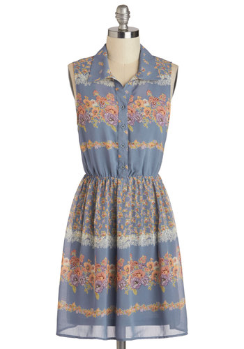 Meadowsweet Marvel Dress - Sheer, Mid-length, Multi, Floral, Buttons, Casual, Shirt Dress, Sleeveless, Collared, Blue, Spring, Festival