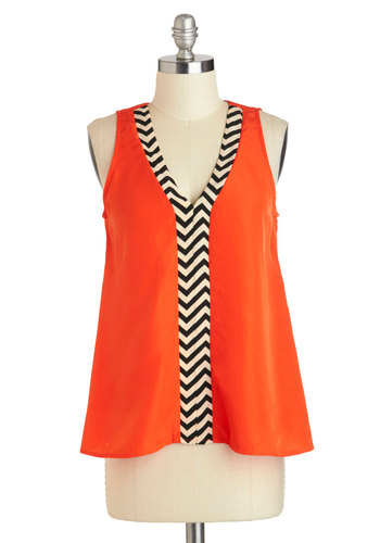 Chevron O'Clock Jump Top - Mid-length, Orange, Black, White, Sleeveless, Chevron, Casual, Vintage Inspired, Mod, Tent / Trapeze, V Neck, Summer