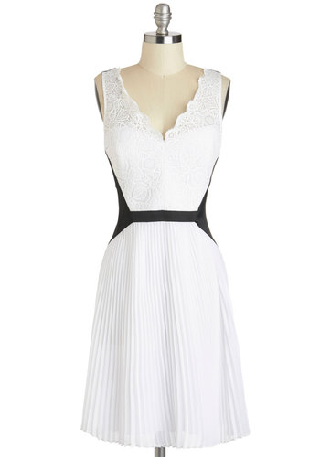 Fancy a Flutter Dress - White, Black, Lace, Pleats, Cocktail, Sleeveless, V Neck, A-line, Wedding, Bride, Mid-length, Luxe