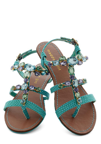 Crystal Clear Waters Sandal - Blue, Solid, Rhinestones, Flat, Faux Leather, Daytime Party, Beach/Resort, Summer