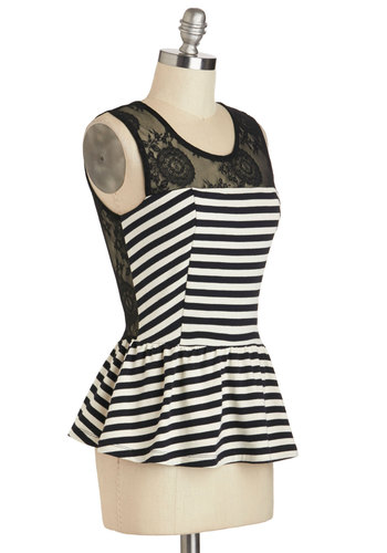 Play Houseboat Top - Black, White, Stripes, Lace, Work, Peplum, Sleeveless, Mid-length, Party, Film Noir, Vintage Inspired, French / Victorian, Sheer, Scoop