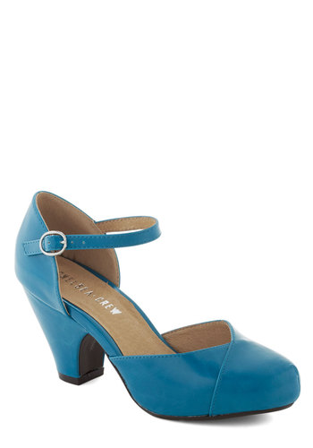 Fashionable Focus Heel in Peacock by Chelsea Crew - Blue, Solid, Wedding, Leather, Party, Work, Vintage Inspired, Mid, Faux Leather, Variation, Pinup, Top Rated