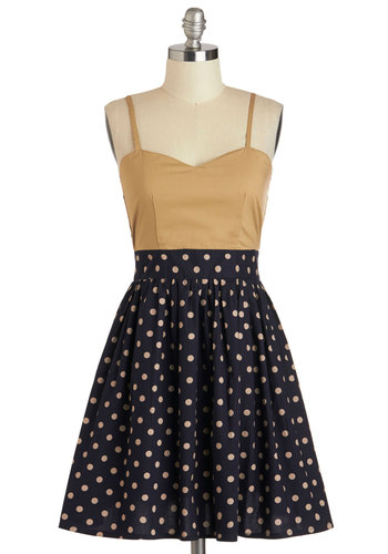 Call It a Day Dress in Khaki - Mid-length, Cotton, Blue, Tan / Cream, Polka Dots, Pockets, Casual, A-line, Spaghetti Straps, Sweetheart, Daytime Party, Twofer, Variation