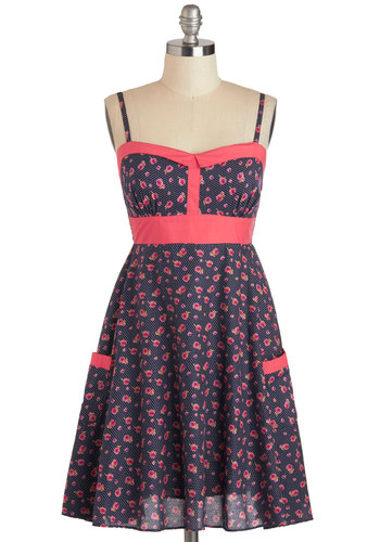 Flower Gathering Dress in Country - Mid-length, Cotton, Blue, Pink, Floral, Pockets, Casual, Spaghetti Straps, Sweetheart, Daytime Party, A-line, Variation