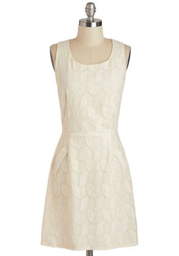 Crochet Yes to the Dress - Mid-length, Cream, Solid, Lace, Party, Sheath / Shift, Tank top (2 thick straps), Scoop, Crochet, Wedding, Daytime Party, Graduation