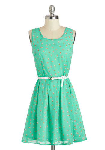 Make a Good Point Dress - Mid-length, Mint, Pink, Tan / Cream, Belted, Casual, Tank top (2 thick straps), Scoop, Print, A-line
