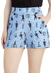 Clowning Around Shorts - Blue, Black, Buttons, Pockets, Casual, Novelty Print, Quirky, High Waist, Summer