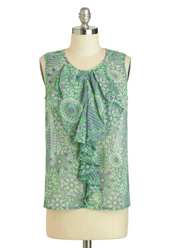 Stylish Stroll Top - Sheer, Mid-length, Green, Print, Ruffles, Work, Sleeveless, Purple, Daytime Party, Scoop