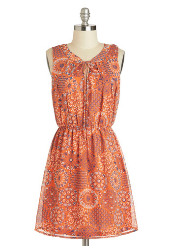 Easy as Tie Dress - Short, Orange, Blue, White, Floral, Casual, A-line, Sleeveless, Boho, Summer