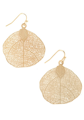 Wooded Hike Earrings - Gold, Solid, Cutout, Fall, Gold