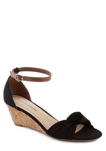 Step Into the Sunlight Wedge in Black - Mid, Black, Wedge, Brown, Solid, Bows, Daytime Party, Minimal, Summer, Variation